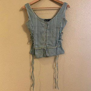 Wet Seal Button-up Camisole - Ties at Waist Size S